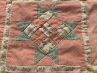VINTAGE QUILT PATCHWORK PINK STARS TIED DOLL CRIB CRAFT WALL HANGING 34x34