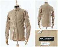 Mens DOLCE & GABBANA Slim Fit Button Down Shirt Long Sleeve Beige Size 16/41 L