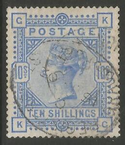 STAMPS-GREAT BRITAIN. 1883. 10/- Pale Ultramarine. SG: 183a. Fine Used.