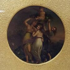 Fine Antique Miniature Oil Painting on Snuff Box Cover 3 Graces with Putti Angel