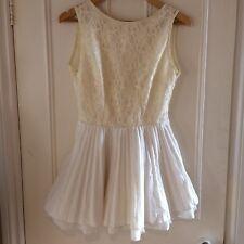 Topshop Boutique Jones + Jones Party Mini Dress White Cream Lace Tutu 12