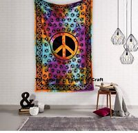 Indian Hippie Peace Sign Handmade Hippie Tapestry Wall Hanging Throw Bedspread