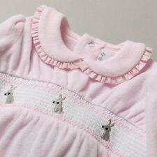 Baby Girl  Spanish Style smocked  sleepsuit  velour romper Pink 0-3 3-6 6-9 m