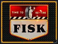 FISK TIRES DEALER GAS SERVICE STATION NEON STYLE BANNER SIGN GARAGE ART 4' X 3'