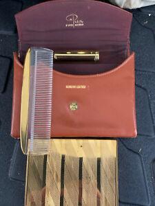 Rex  Fifth Avenue Vintage 1940s Mirror, Powder Lipstick Comb Make Up Set Leather