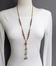 """Brown necklace tassel bead pendant 28"""" long beaded Y necklace seed bead lariat"""