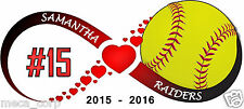 6 inch Customized Full Color Softball Infinity with Hearts Vinyl Decal