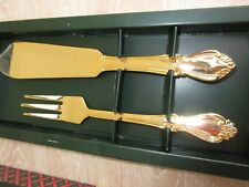 BNIB SCANIA GOLD PLATED TWO PIECE CAKE SERVING SET MADE IN SWEDEN KNIFE & FORK