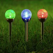 Twinkle Star Solar Pathway Lights Crackle Glass Globe Outdoor Color Changing Set