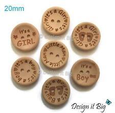 Little Man / It's a Girl / It's a Boy  - Wooden Motif Baby Buttons 2 Holes 20mm
