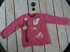 T-shirt manches longues rose brodé fleurs, écureuil, champignons ZARA 4-5 ans