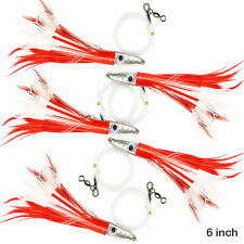 5pcs 6 inch Tuna Feather Jet Rigged Fishing Big Game Trolling Lures Red White