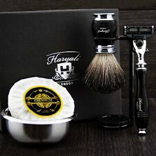 Men's Set da barba FT Gillette MACH 3 & Nero Puro Badger pennello regalo Kit PER LUI