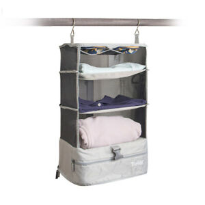 Light Gray Stow N Go Hanging Travel Shelves 3 Tiered Portable Organizer Small