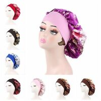 Women's Satin Night Sleep Cap Hair Care Bonnet Hat Head Cover Wide Band Adjust