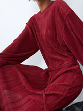 BNWT Zara Rustic Red Pleated Balloon Sleeve Midi Dress Size Large UK 14