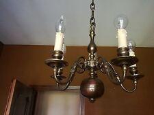 Lampadario ottone brunito anni 50/60 a 5 luci lights chandelier lamp