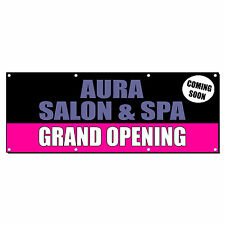 Custom Salon Spa Name Grand Opening Coming Banner Sign 3 ft x 6 ft /w 6 Grommets
