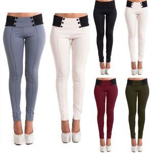 UK 6-20 Women High Waist Skinny Stretch Long Pants Ladies Office Trouser Legging