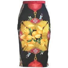 Dolce & Gabbana VTG 1990s Orange Lemon Asian Inspired Pencil Skirt XS/S 40 4
