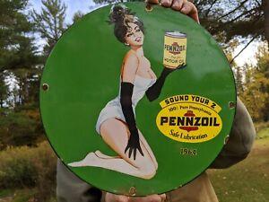 RARE OLD VINTAGE 1964 PENNZOIL MOTOR OILS PORCELAIN GAS STATION PUMP SIGN