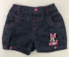 [I30] Minnie Mouse Embroidered Jean Heart Shorts Disney Baby Girls 18-23 Mth EUC