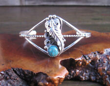 """Navajo Sterling Silver Etched Feather Turquoise 5"""" Cuff -Bracelet Signed """"RM"""""""