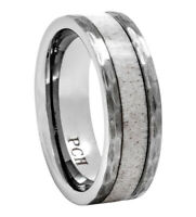 Tungsten Deer Antler Ring 8mm Hammered Finish Wedding Band | Gift Light Color