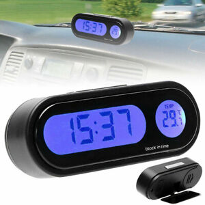 2 in 1 LCD Digital Car Electronic LED Time Clock Thermometer w/ Backlight Black