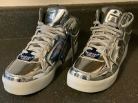 Skechers Energy Lights Youth Silver High Top Athletic Sneakers sz US 8 EU 41 New