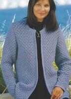 "Ladies Jacket Knitting Pattern edge to edge Crew neck DK 32-50"" 1109"