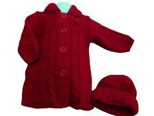 NUEVO CON ETIQUETAS niña Navidad Rojo Punto Grueso Invierno Rebeca Sombreros Set