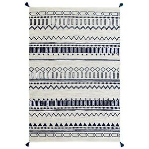 Moroccan Tribal Ethnic Design Printed Blue Cream Cotton Durrie Flat weave Rugs