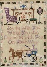 Amish Horse Buggy Cross Stitch Needlepoint Sampler Wall Decor Antique Vtg