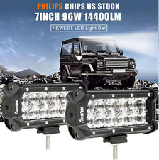 2X 7inch 96W Spot LED Work Light Car Truck Boat Driving Fog Offroad SUV 4WD Lamp
