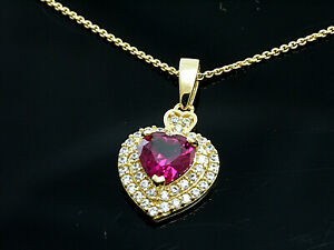750 Gold kleiner Herz Anhänger mit Goldkkette mit Zirkonia und Rubin  18 x 9 mm