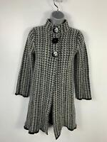 WOMENS SOPHIE GRAY BHS BLACK/GREY PATTERN CASUAL LONG POPPER FASTEN COAT SIZE 12