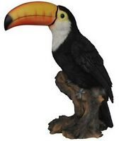 TOUCAN ON STUMP BIRD AMAZING - Realistic Life Like Figurine Statue Home Garden