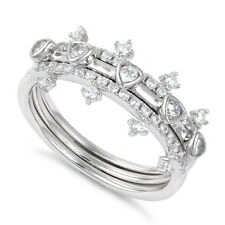 925 Sterling Silver 3 Pc Stack Cz Crown Style Wedding Band Ring Set Sizes 4-11