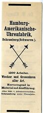 Hamburg-americana fábrica de relojes Schramberg schwarzw. histórica publicitarias 1908
