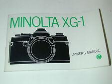 NOTICE MINOLTA XG-1 en ANGLAIS  photo photographie