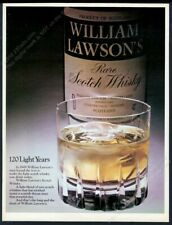 1970 William Lawson's Scotch Whisky bottle rocks glass photo vintage print ad