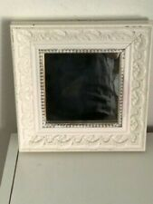 VINTAGE SHABBY CHIC ORNATE DISTRESSED ANTIQUE WHITE WALL MIRROR 8 x 8