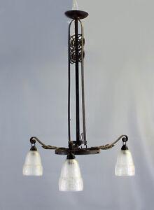 8368018 Deckenlampe Jugendstil um 1900/10 Hammerschlagdekor 3-armig