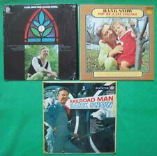 """3 HANK SNOW Vinyl 12"""" LP's.Sings sacred songs, You're easy to love & Railroad"""