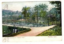 CT - MERIDEN CONNECTICUT 1910 Postcard EAST ENTRANCE HUBBARD PARK LAKE BRIDGE