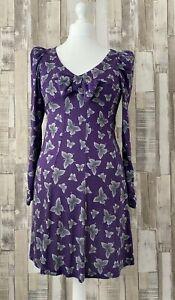 Barbara Hulanicki for George Purple Butterfly Print Dress Vintage Style Size 12