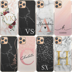 Personalised Initial Phone Case, Black/Grey/Pink Marble Hard Cover For Xiaomi