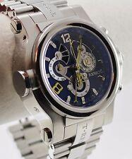 Renato Men's T-Rex Watch, Swiss Ronda 5040F, SS, Blue CF Dial w/ Yellow Accents