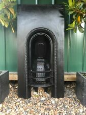 More details for an original victorian antique arched insert cast iron fireplace